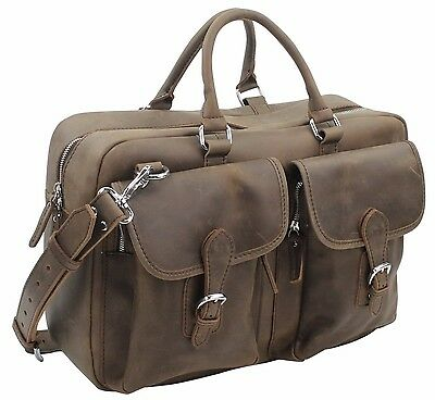 "Vagabond Traveler 17"" Medium Cowhide Leather Duffle/ Gym/ Travel Tote L27.DS"
