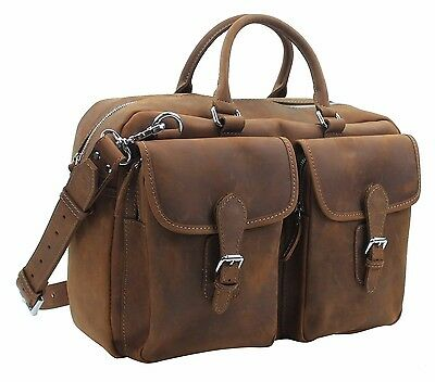 "Vagabond Traveler 17"" Medium Cowhide Leather Duffle/ Gym/ Travel Tote L27.VB"