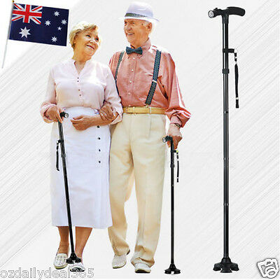 Adjustable WALKING STICK Travel Retractable Folding Cane Metal Pole for Hiking