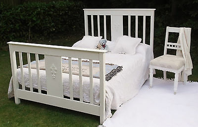 ANTIQUE Edwardian FRENCH SHABBY CHIC wooden PAINTED WHITE DOUBLE BED FRAME
