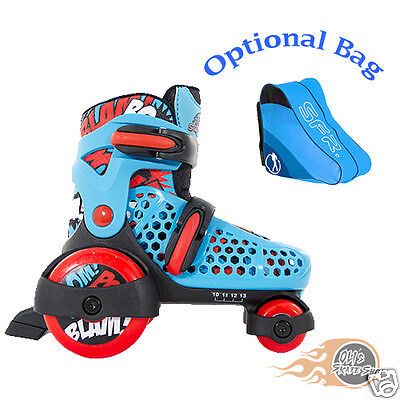 SFR Stomper Adjustable Quad  Roller Skates Boys Blue/White Optional Bag