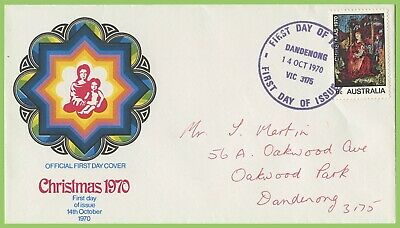 Australia 1970 Christmas 6c issue on Official First Day Cover Dandenong h/s