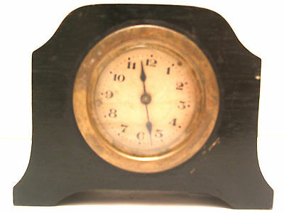 "Ebony Case Timepiece Mantle Clock c1930'  3.5""H 4.5""W 1.5""D"