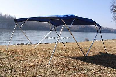 "NEW ROYAL BLUE VORTEX 4 BOW PONTOON/DECK BOAT BIMINI TOP 8' long / 67-72"" wide"