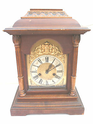 "HAC German Oak Case Chiming Mantle Clock With Glazed Front 16""H 12""W 7.5""D"