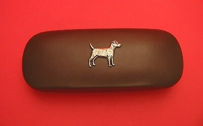 Patterdale Terrier Motif On Brown Solid PU Glasses Case Mother Father Xmas Gift