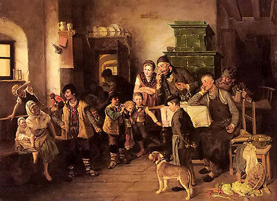 Oil painting the little performer a big happy family party with dog no framed