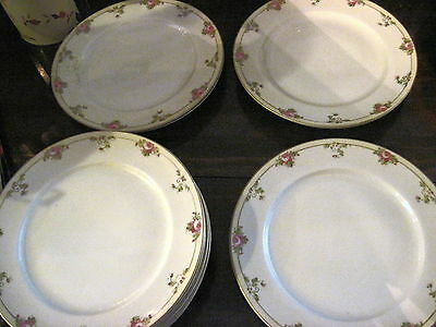 12 Nippon Dinner Plates with Pink Roses