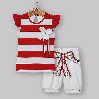 Brand New Girls 12-24 Mths 2-5 Yrs 2 Piece Set Top & Shorts Red/white Party Xmas