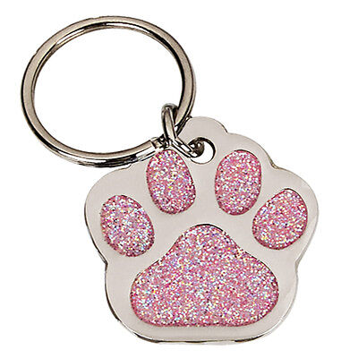 Pet ID Tag for Collar Dog Cat Paw Print Various Colours FREE engraving