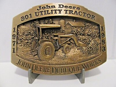 *John Deere 301 Utility Tractor Belt Buckle 1997 Dubuque Works Ltd Ed 1/2500