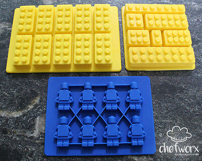 3 Pack Lego/Duplo Style Men & Block Silicone Molds