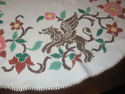 DRAGONS! ANTIQUE 1920s GERMAN TABLECLOTH + BONUS MEDIEVAL PRINT TABLECLOTH