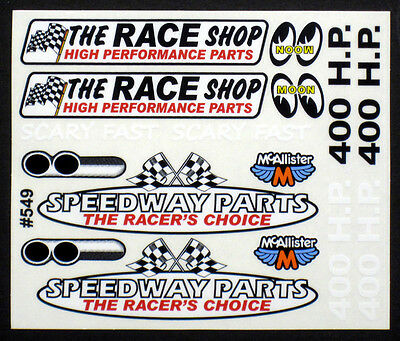 Race Shop Sponsor Detail Decal for RC Cars,Late Models,Stock Cars, Dirt Oval#549