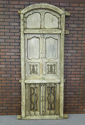 Antique Tuscany, Italy Wood Window with Doors and Metal Bars