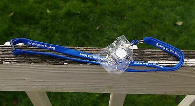 Boeing on the Move Retractable Neck Lanyard Blue White Key Card Strap Clip