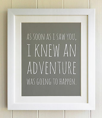 Winnie the Pooh FRAMED QUOTE PRINT, Fab Picture Gift, Adventure, Nursery, Bear