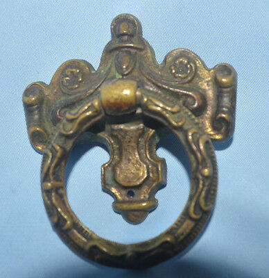 Antique Victorian Style Brass Metal O Ring Drawer Pull