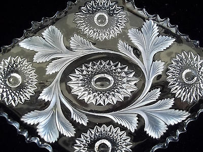 MILLERSBURG CRYSTAL Diamond Tray Dish Plate HOBSTAR AND FEATHER pre 1920's
