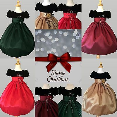 Black Velvet Taffeta Dress Flower Girl Toddler Infant Holiday Christmas Fall #47