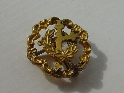 Vtg Antique Mason Leaning Cross in Wreath Laurel Crown Pin