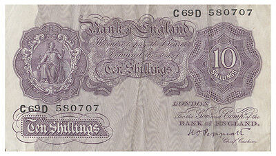 Great Britain 1940 Peppiatt Ten Shillings Note VF