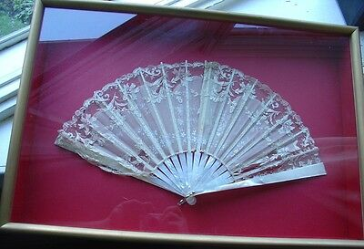 Antique Vtg Lace Mother of Pearl MOP Fan in Shadowbox Frame