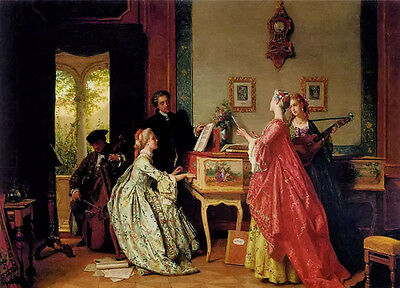 Figures portraits Oil painting the recital - the concert noble women playing art