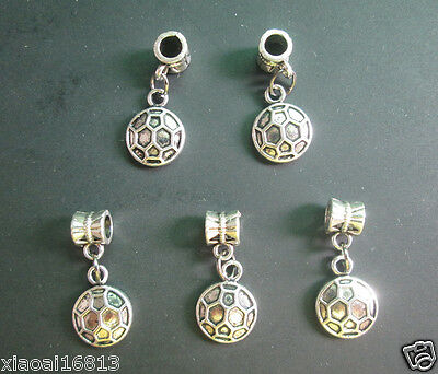 10pcs Tibetan Silver Round Soccer Football Charms Dangle Beads Jewelry Findings
