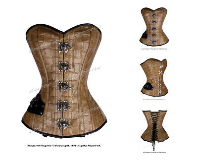 26 Double Steel Boned Waist Training Faux Leather Overbust Shaper Corset 8329-FL