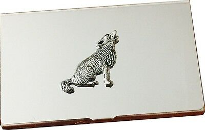 Business and Credit Card Holder with Antique Pewter WOLF Emblem