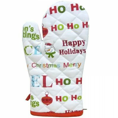 Snowman Festive Xmas Single Kitchen Bbq Oven Cooking Baking Glove Mitts Mittens