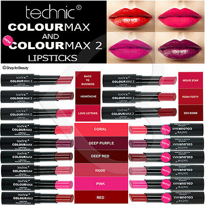 Technic Colour Max Lipstick Red Bright Pink Dark Red Nude Lipstick Matte & Satin