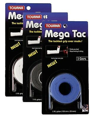 Tourna Mega Tac XL Tennis Racket Overgrips - Wet Feel - 3 Pack Badminton Squash