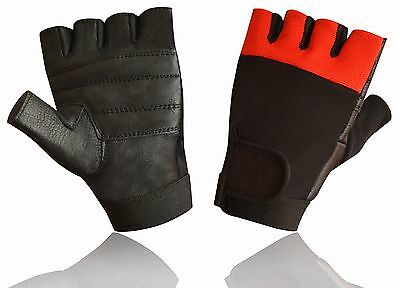 Leather Padded Men's Weight Lifting Training Cycle Wheelchair Black/Red Gloves