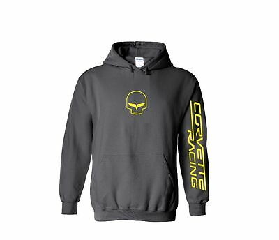 CORVETTE RACING CHARCOAL hoodie S M L 1 2 3 4 5 XL chevy v8 JDM team Jake skull