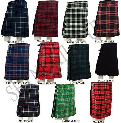 Scottish Mens Kilts 8 Yard Kilts 16oz, Casual Kilt, Various Sizes and Tartans