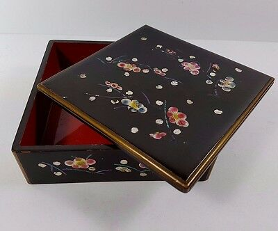 Vintage Mother Of Pearl Abalone Inlaid Black Lacquer Jewellery Trinket Box