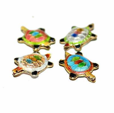 Pair of tortoise shape cloisonne style beads in choice of four colours