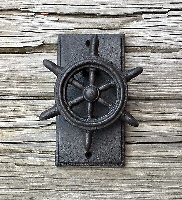 Cast Iron Ship Wheel Vintage Nautical Door Knocker