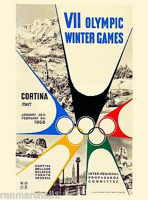 1956 Cortina Italy 7th Olympic Winter Games Travel Advertisement Poster