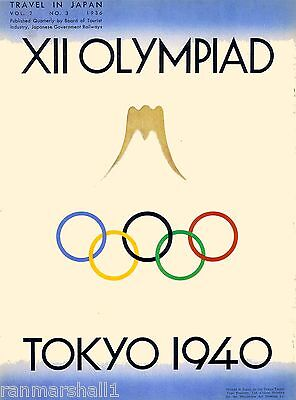 1940 Tokyo Japan Asia XII Olympiad Olympic Games Travel Advertisement Poster