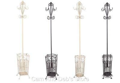 Metal Iron Coat Hat & Umbrella Stand French Provincial Black Or Cream New