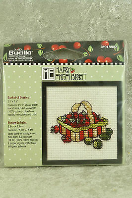 Bucilla Mary Engelbreit Basket of Berries Mini Counted Cross Stitch Kit w/ Frame