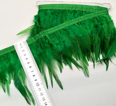 Green Rooster Feather Fringe Ribbon Trim (price for 30cm) DIY Craft Clothing
