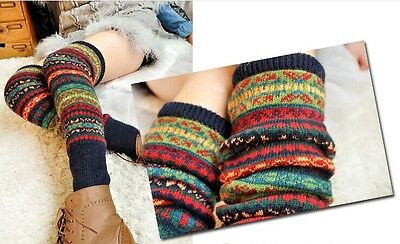 Women Leg Warmer Gifts Crochet Leggings Winter Multi-Coloured Toppers Knit Socks