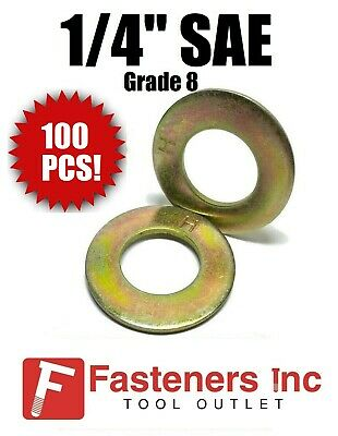"(Qty 100) 1/4"" SAE Flat Washers Thru-Hardened / Grade 8 Yellow Zinc"