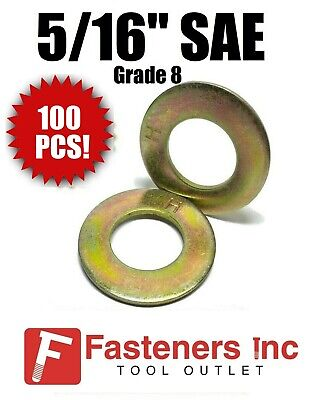 "(Qty 100) 5/16"" SAE Flat Washers Thru-Hardened / Grade 8 Yellow Zinc"