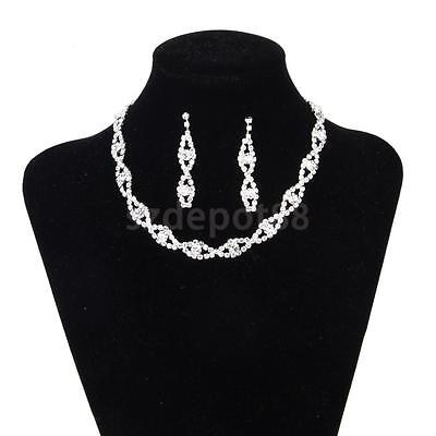Bridal Wedding Party Jewelry Crystal Diamante Necklace & Drop Earrings Set