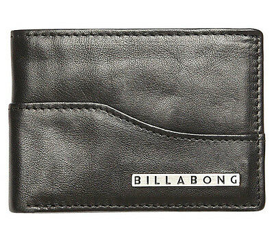 "Brand New In Box Billabong Mens Boys Leather Flip Wallet Bi Fold ""wharf"" Black"